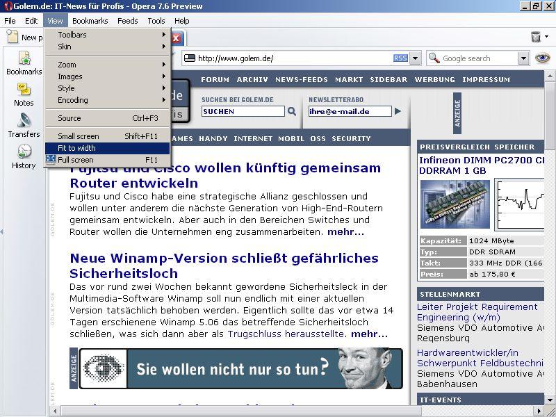 Aus Opera 7.60 wird Opera 8