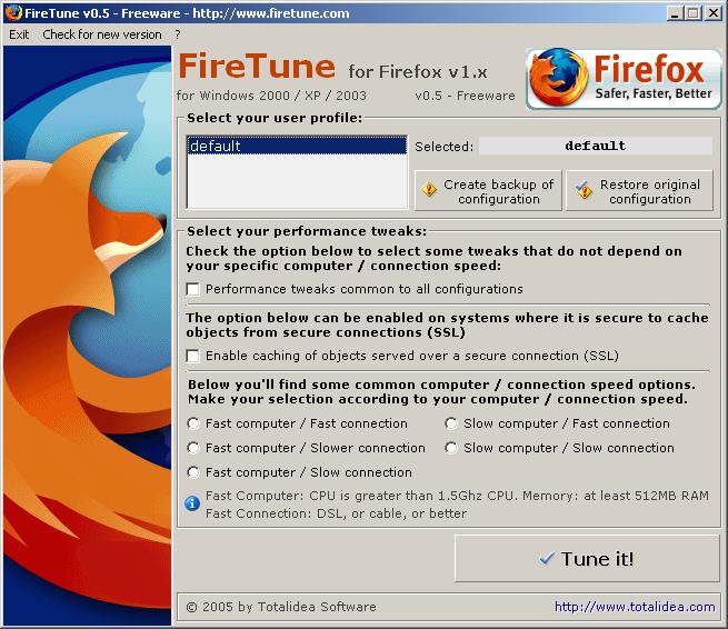 Freeware FireTune beschleunigt Firefox