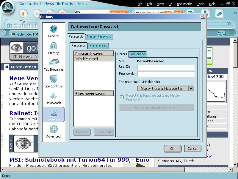 Netscape 8: Internet Explorer und Firefox friedlich vereint