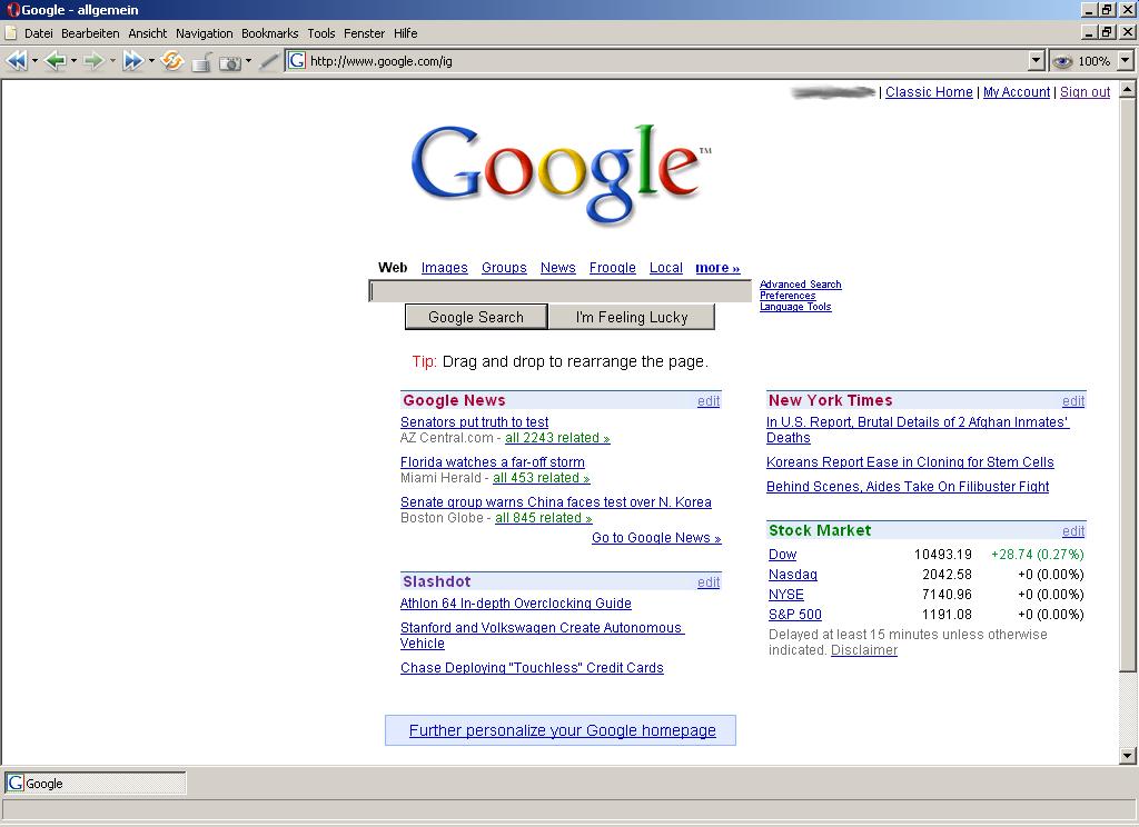 Personalisierbare Version der Google-Homepage