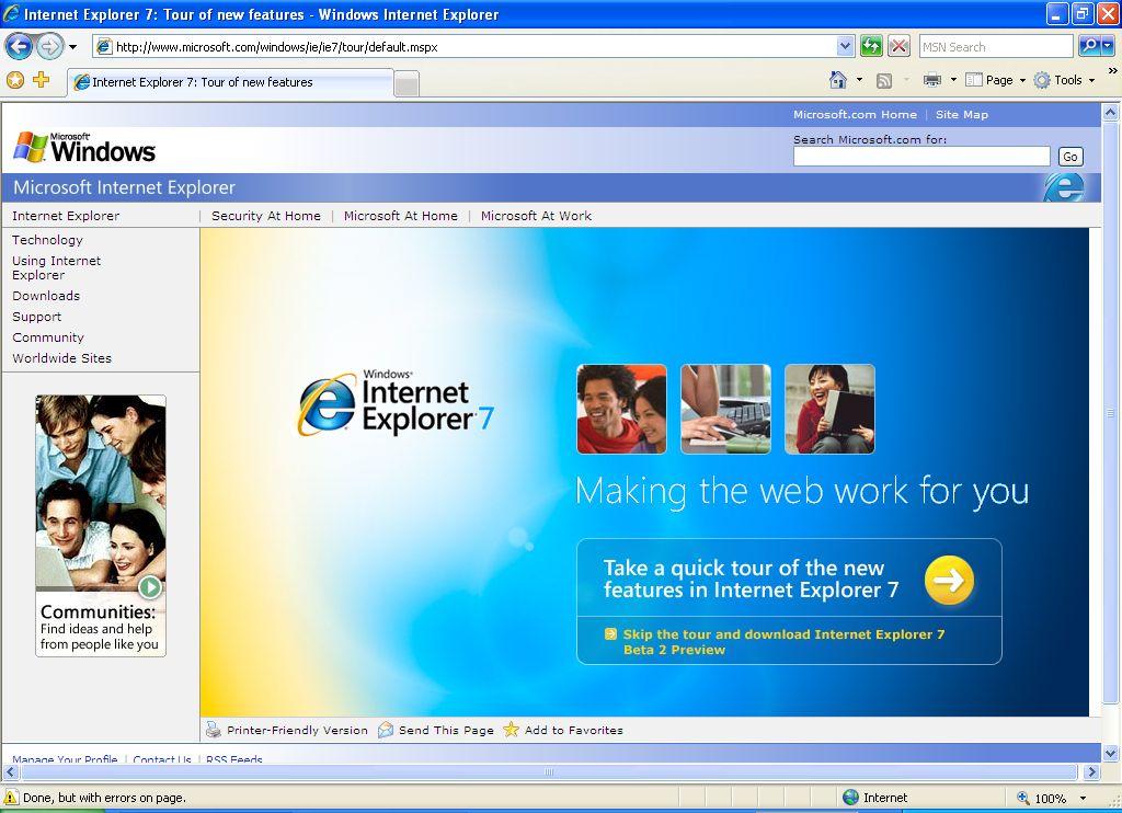 Beta 2 Preview vom Internet Explorer 7 zum Download