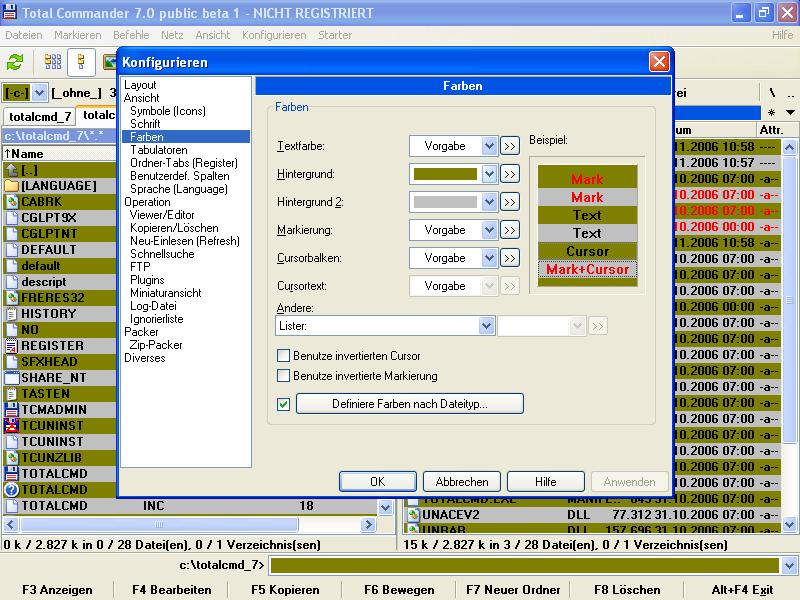 Total Commander 7.0 mit veränderter Oberfläche