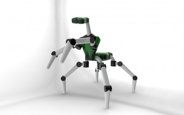 Der sechsbeinige Roboter Mantis ist einer Gottesanbeterin nachempfunden. (Grafik: DFKI)
