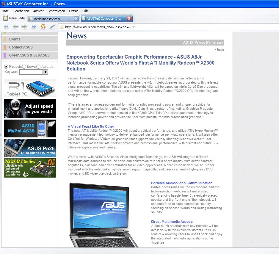 """Asus kündigt vorschnell mobile ATI-GPU """"Radeon X2300"""" an"""