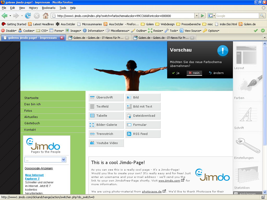 Jimdo: Konkurrent zu Googles Webseitentool Page Creator