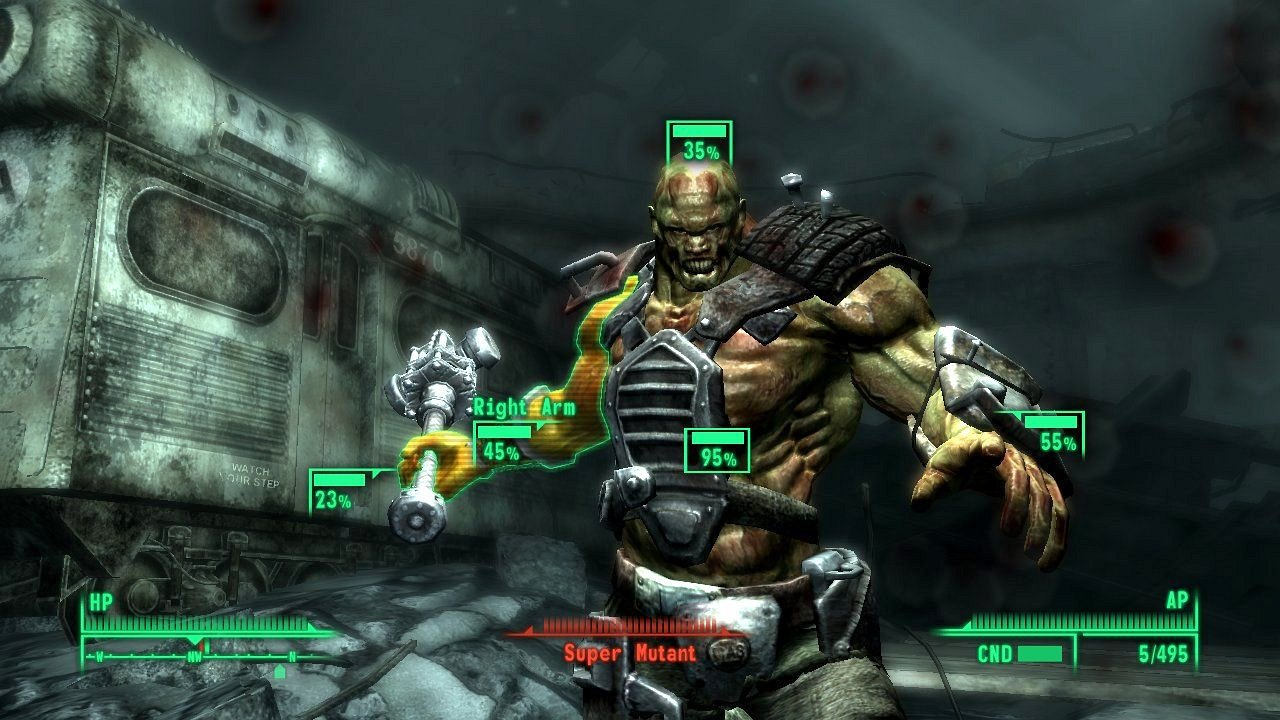 Interview: Fallout 3 - Atombomben und schlechtes Karma - Das Vault-Tec Assisted Targeting System, kurz V.A.T.S., in Aktion.