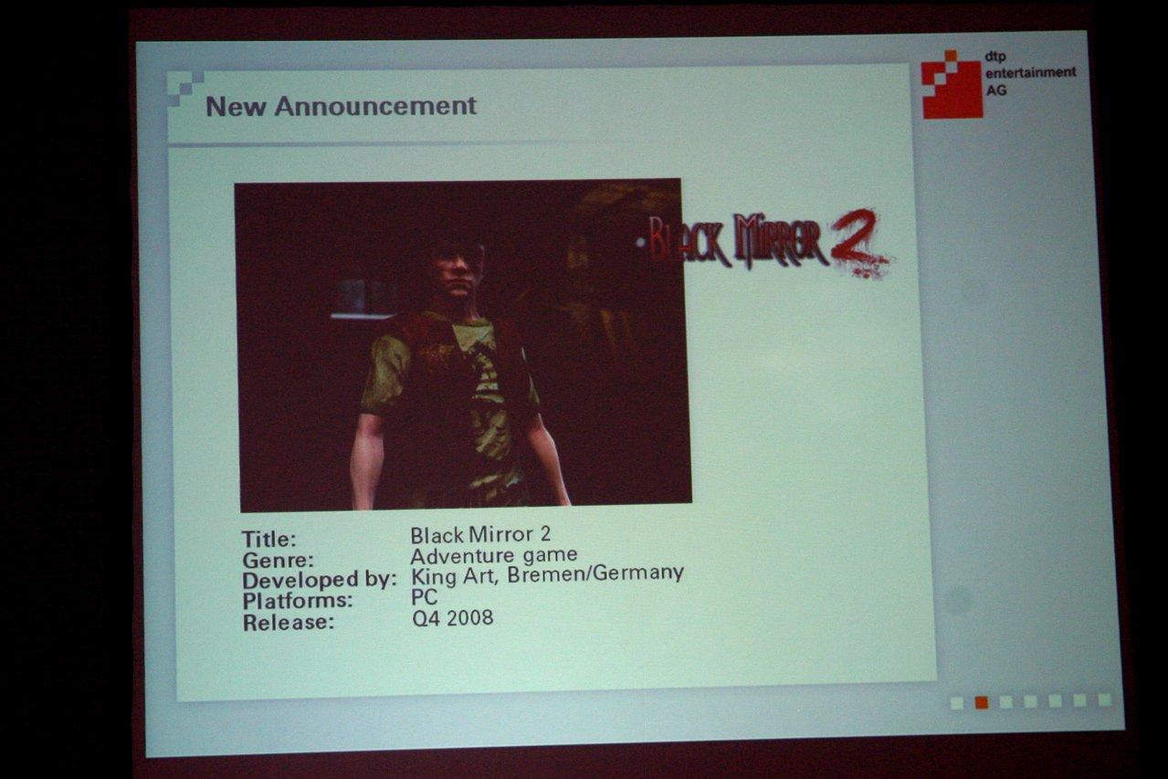 GC: dtp kündigt Black Mirror 2 und Rollenspiele an - Black Mirror 2