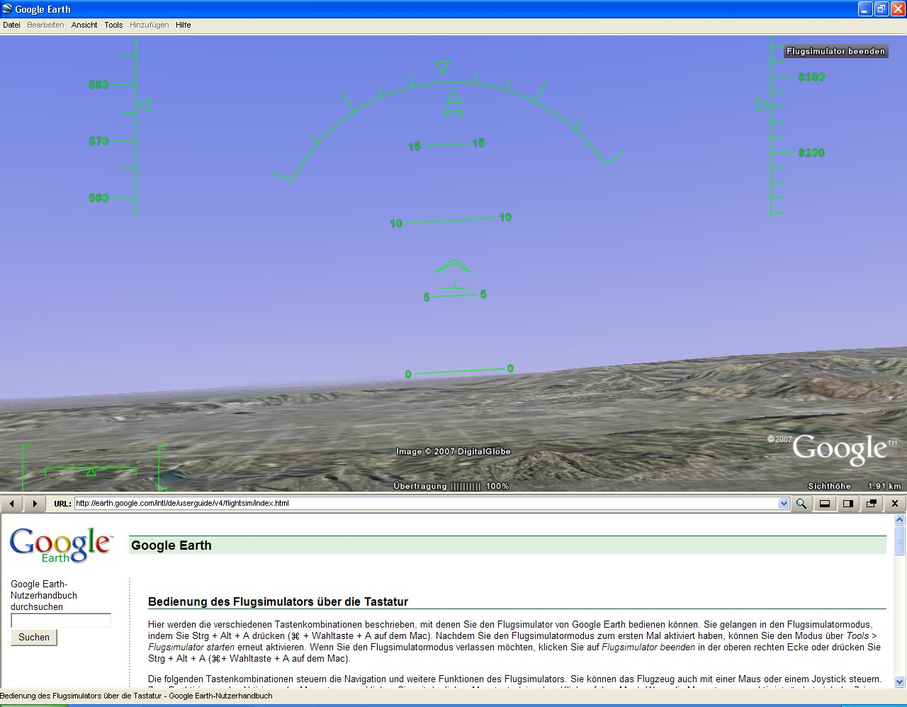 Versteckter Flugsimulator in Google Earth