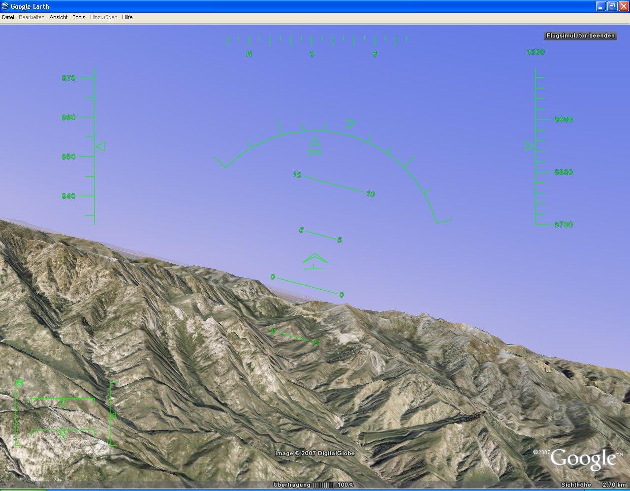 Versteckter Flugsimulator in Google Earth
