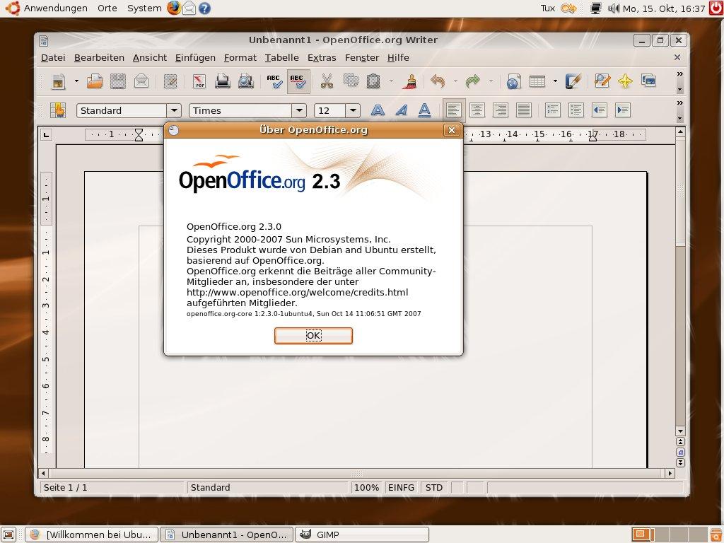 Test: Ubuntu 7.10 mit 3D-Desktop - OpenOffice.org 2.3