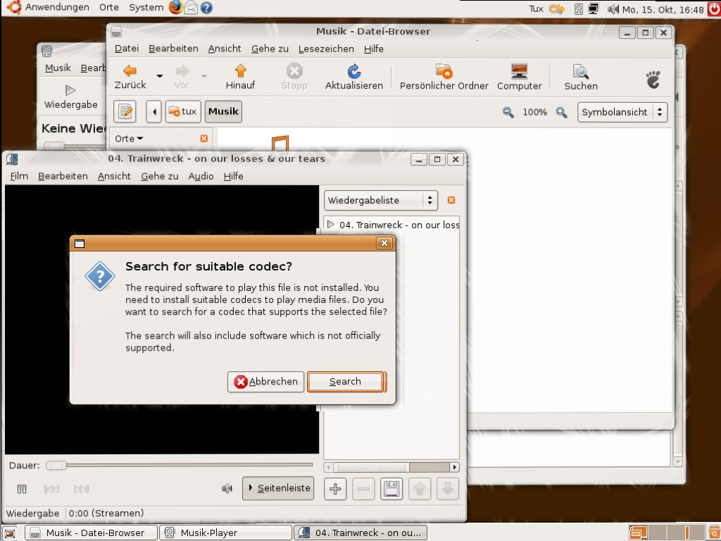 Test: Ubuntu 7.10 mit 3D-Desktop - Der Totem-Videoplayer sucht nach passenden Codecs