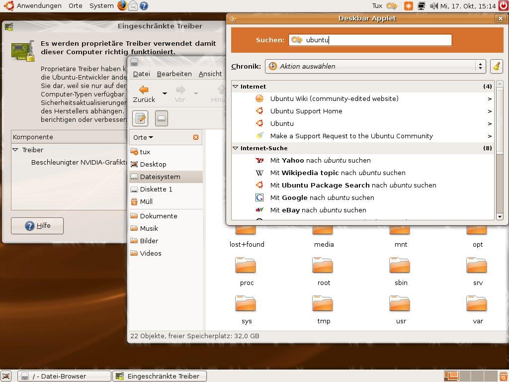 Test: Ubuntu 7.10 mit 3D-Desktop - Tracker ist die neue Desktop-Suche