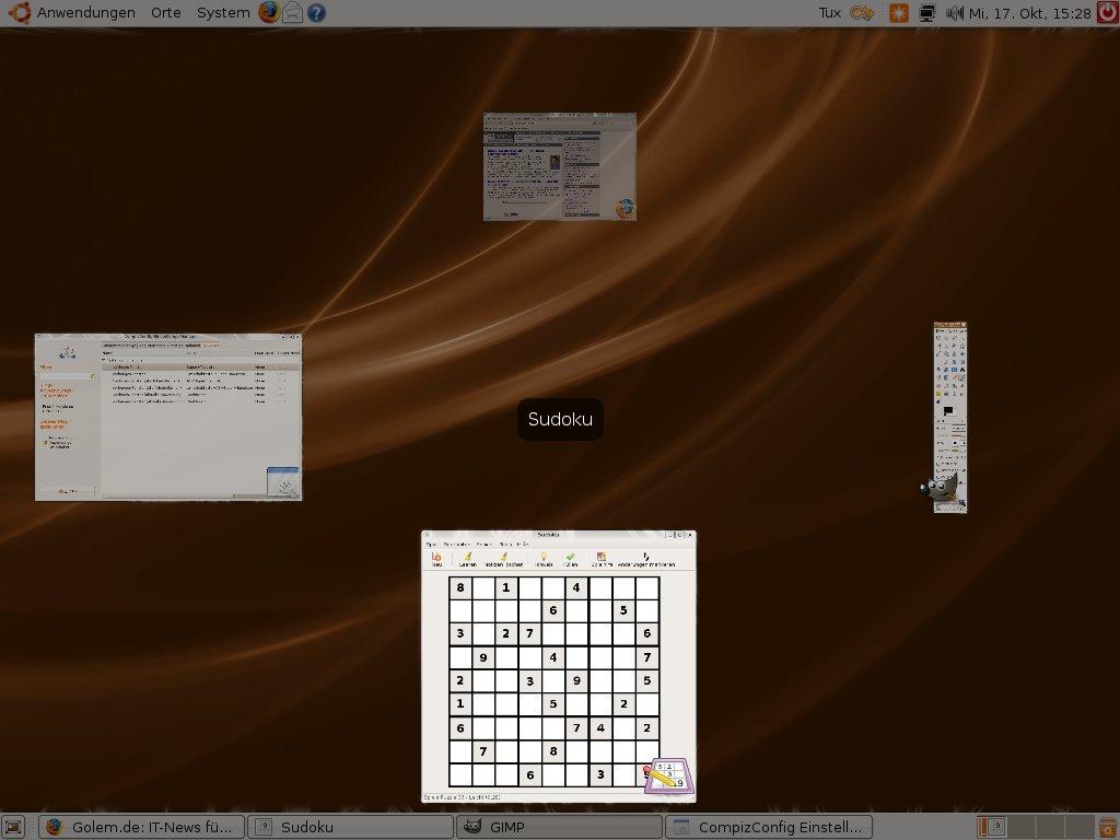 Test: Ubuntu 7.10 mit 3D-Desktop - Compiz in Aktion