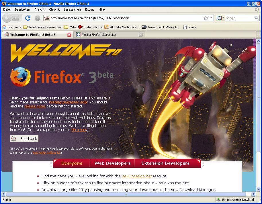 Firefox 3 Beta 3 steht zum Download bereit - Firefox 3 Beta 3