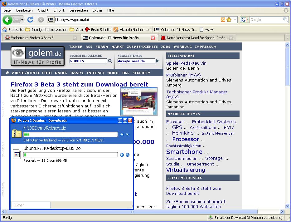 Firefox 3 Beta 3 steht zum Download bereit - Downloadmanager und Downloadstatus (Statusleiste unten rechts)