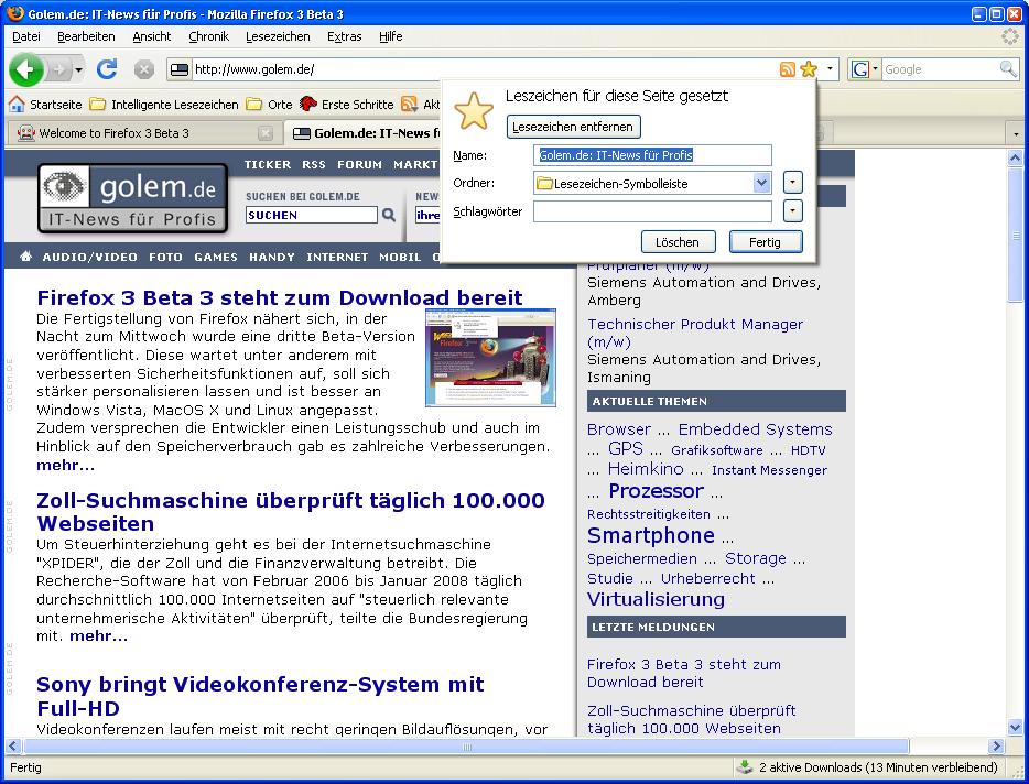Firefox 3 Beta 3 steht zum Download bereit - Lesezeichenbearbeitung