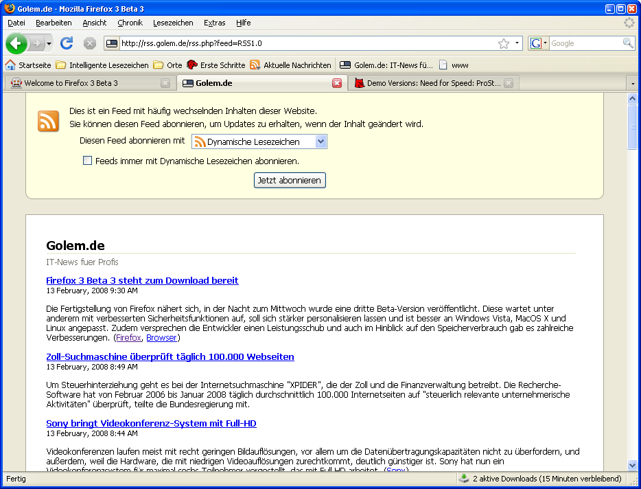 Firefox 3 Beta 3 steht zum Download bereit - RSS-Feeds