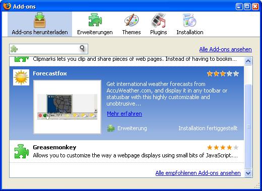 Firefox 3 Beta 3 steht zum Download bereit - Add-On installiert