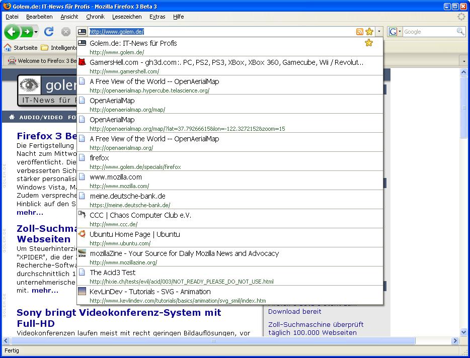 Firefox 3 Beta 3 steht zum Download bereit - Chronik