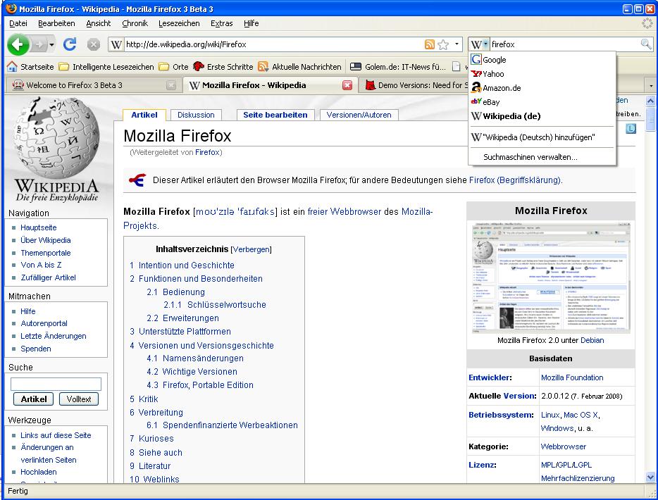 Firefox 3 Beta 3 steht zum Download bereit - Suchmaschinen