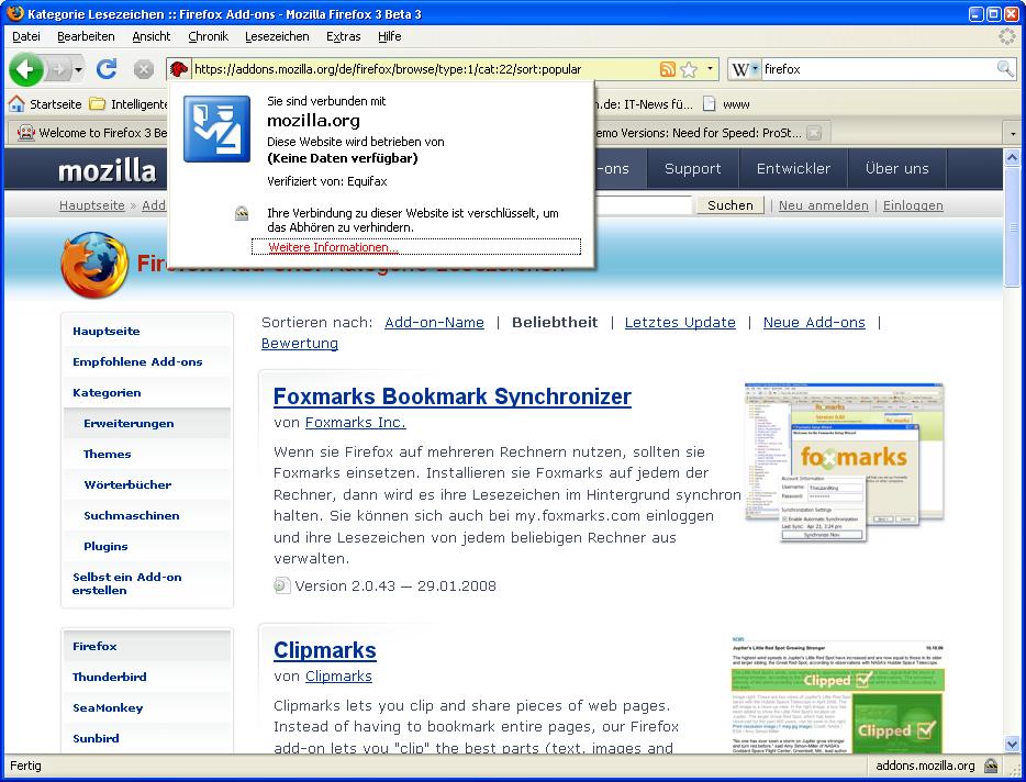Firefox 3 Beta 3 steht zum Download bereit - Webseiten-Verifizierung