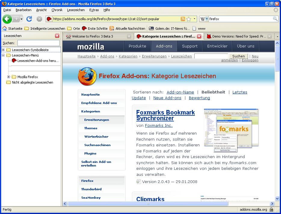 Firefox 3 Beta 3 steht zum Download bereit - Firefox mit Seitenleiste