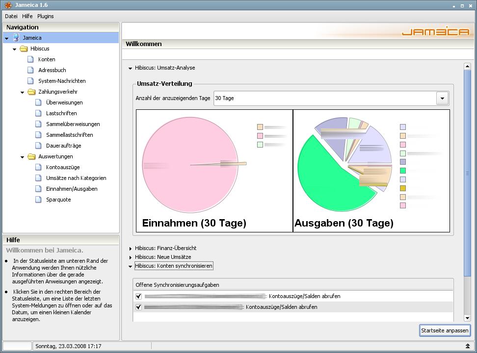 Onlinebanking Hibiscus 1.8 mit integriertem Backup - Startseite