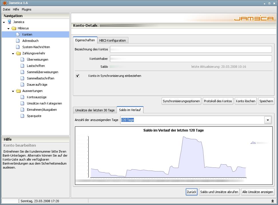 Onlinebanking Hibiscus 1.8 mit integriertem Backup - Saldoverlauf