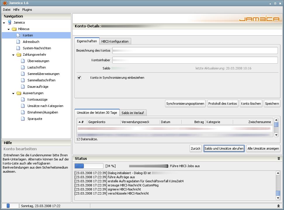 Onlinebanking Hibiscus 1.8 mit integriertem Backup - Konto synchronisieren