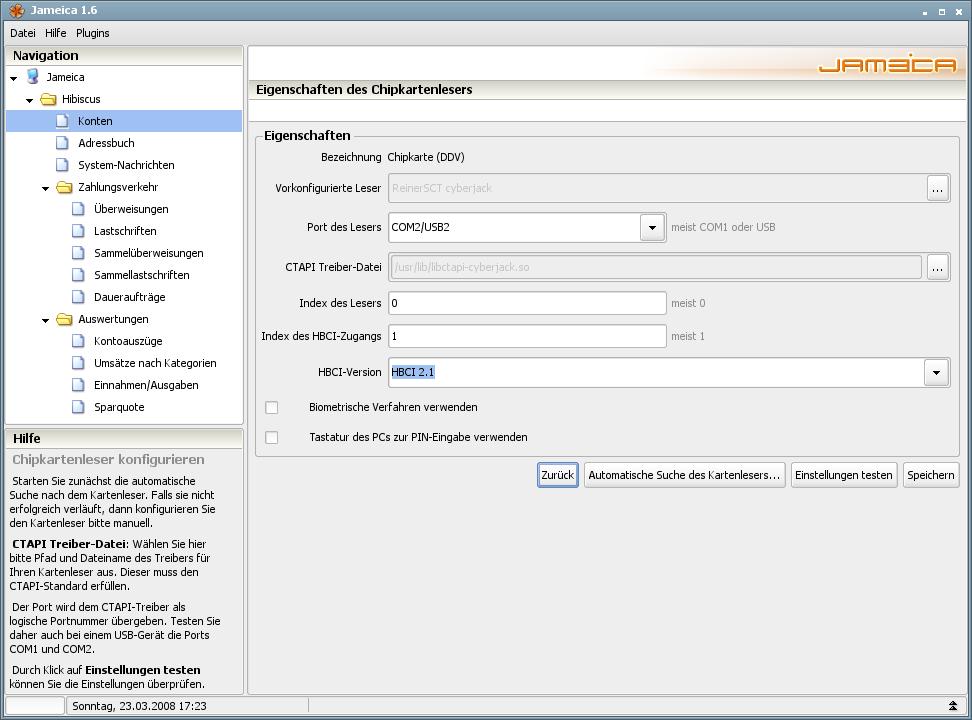 Onlinebanking Hibiscus 1.8 mit integriertem Backup - Chipkartenleser konfigurieren
