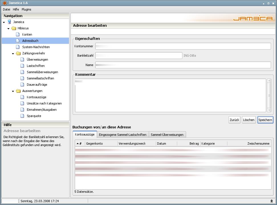 Onlinebanking Hibiscus 1.8 mit integriertem Backup - Adressbuch