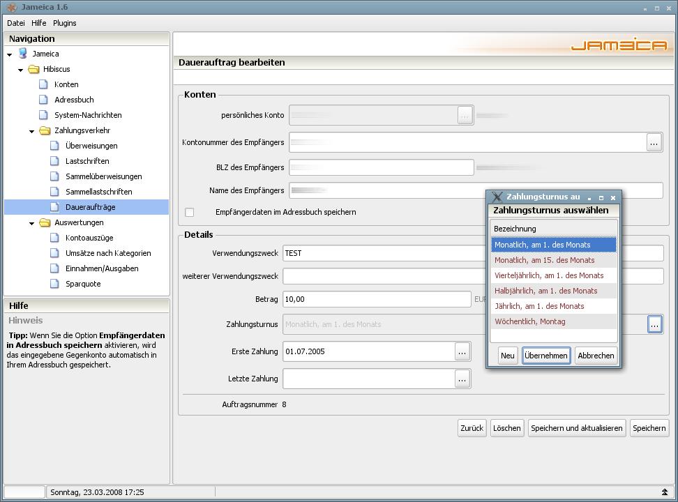 Onlinebanking Hibiscus 1.8 mit integriertem Backup - Dauerauftrag bearbeiten
