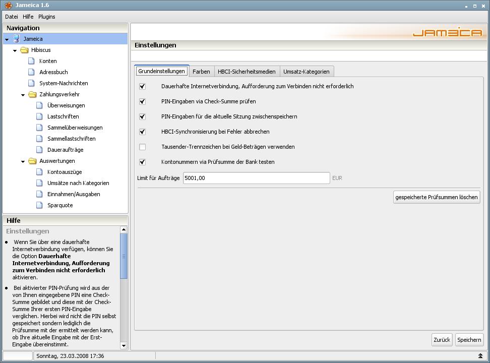 Onlinebanking Hibiscus 1.8 mit integriertem Backup - Einstellungen