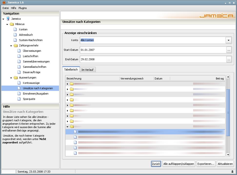 Onlinebanking Hibiscus 1.8 mit integriertem Backup - Kategorien (tabellarisch)