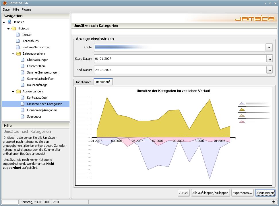 Onlinebanking Hibiscus 1.8 mit integriertem Backup - Kategorien (im Verlauf)