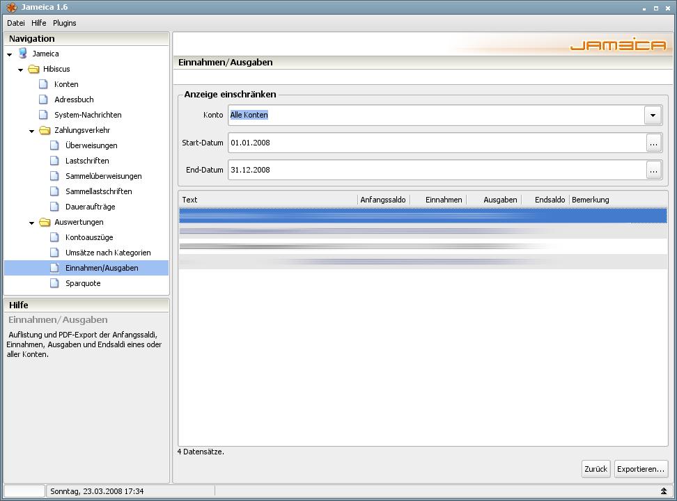 Onlinebanking Hibiscus 1.8 mit integriertem Backup - Einnahmen/Ausgaben