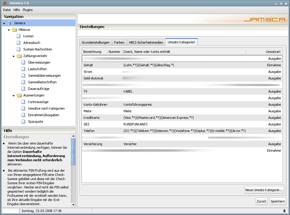 Onlinebanking Hibiscus 1.8 mit integriertem Backup - Umsatz-Kategorien