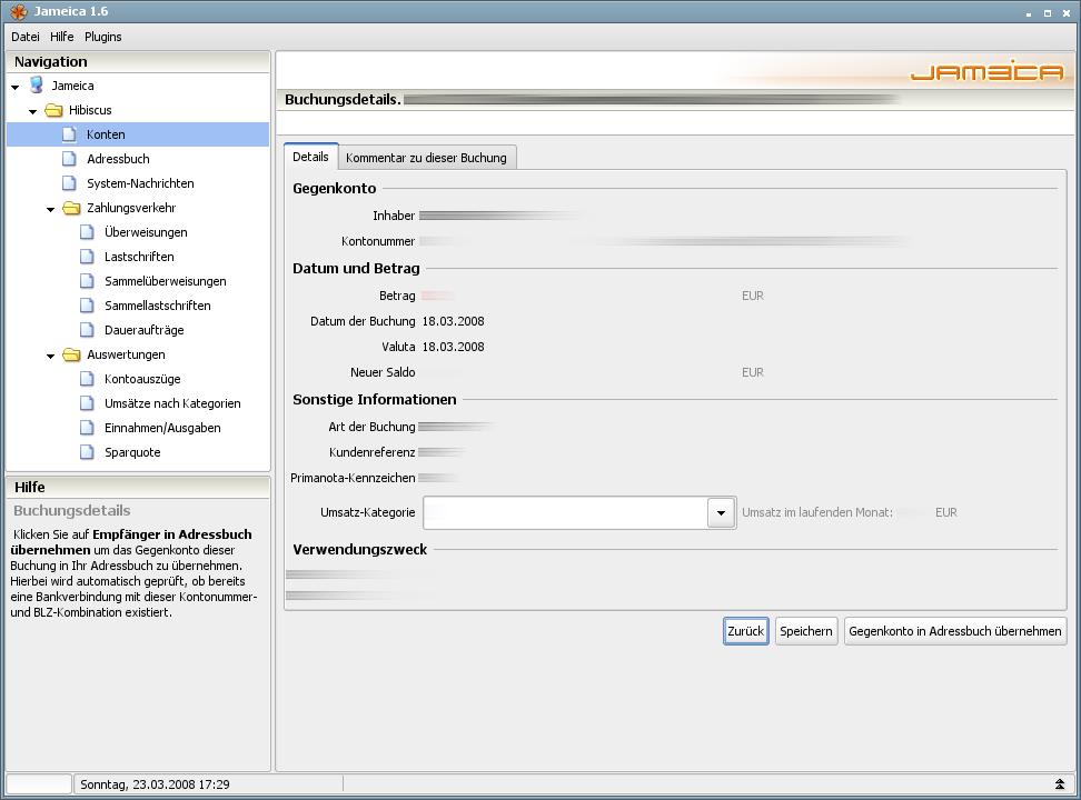 Onlinebanking Hibiscus 1.8 mit integriertem Backup - Umsatz-Details