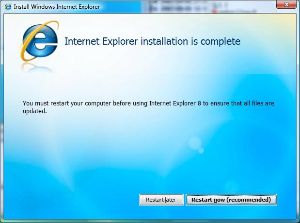 Erste Beta des Internet Explorer 8 veröffentlicht (Update) - Aufforderung zum Neustart