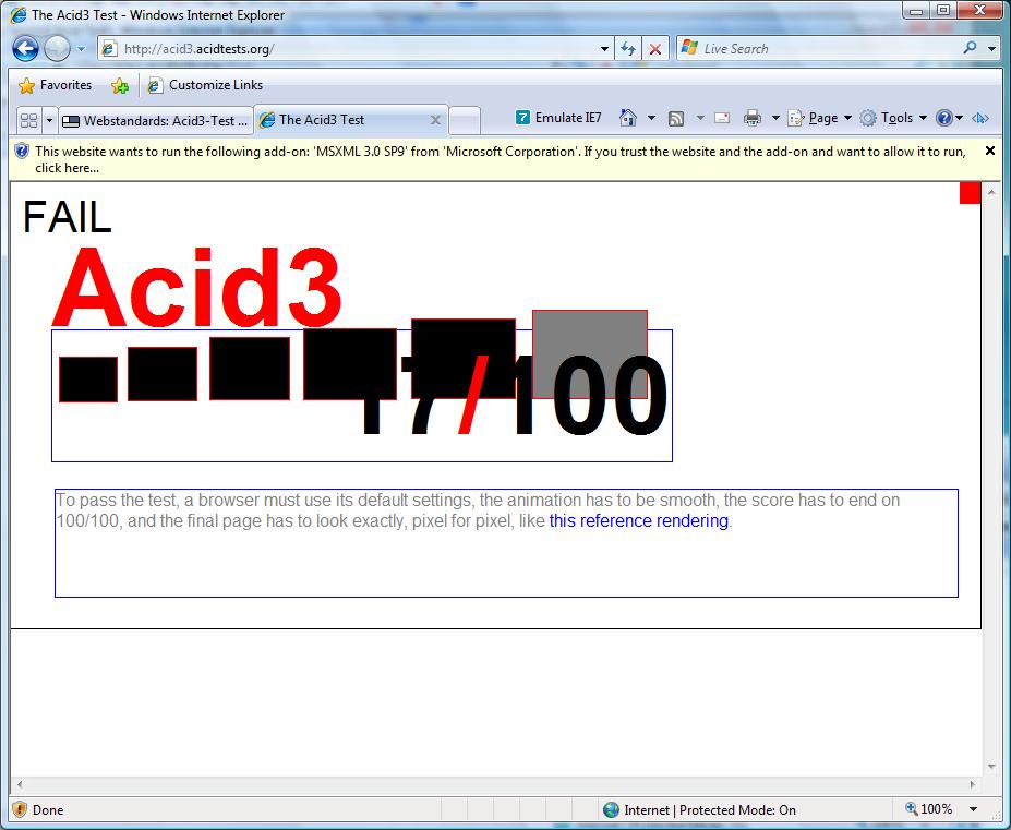 Erste Beta des Internet Explorer 8 veröffentlicht (Update) - IE8-Modus - Acid3-Test weit entfernt, trotzdem deutlich besser...