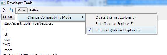 Erste Beta des Internet Explorer 8 veröffentlicht (Update) - Verschiedene Darstellungsmodi