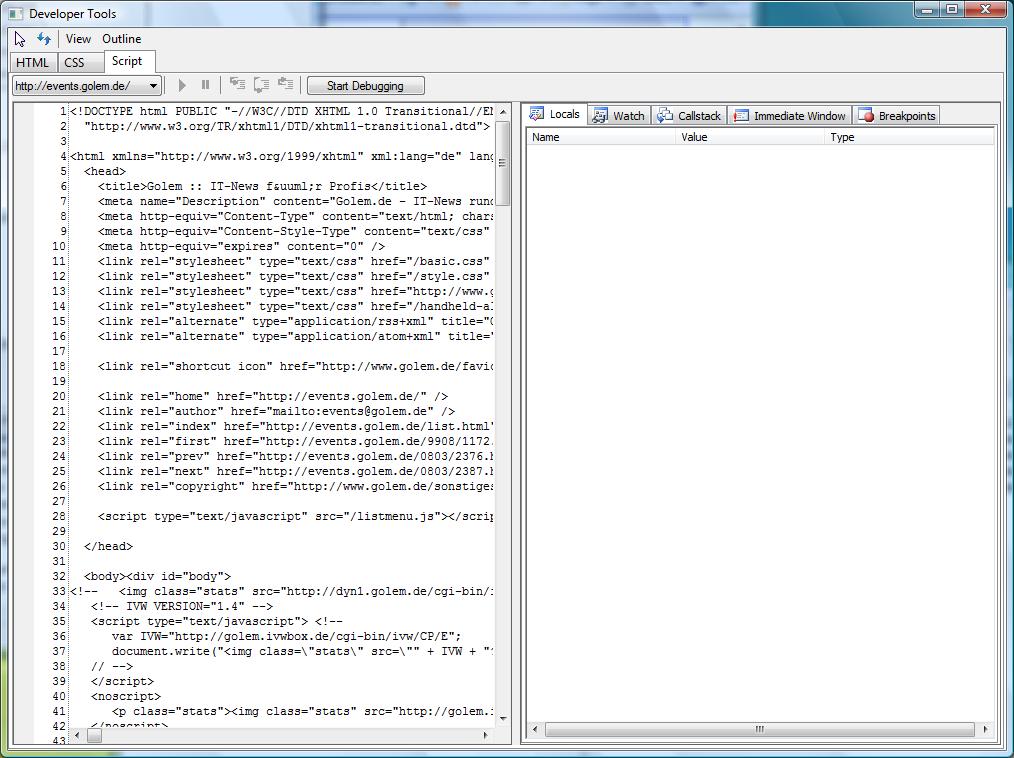 Erste Beta des Internet Explorer 8 veröffentlicht (Update) - IE8-Developer-Tools und JavaScript
