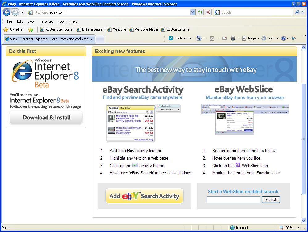 Erste Beta des Internet Explorer 8 veröffentlicht (Update) - eBay-Beispielseite