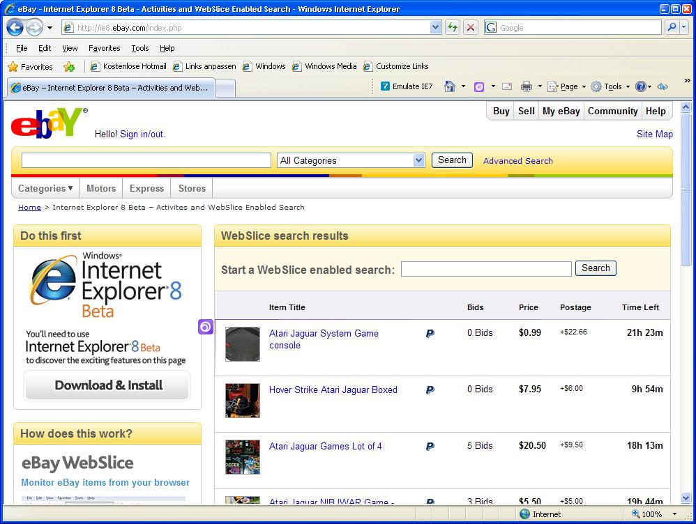 Erste Beta des Internet Explorer 8 veröffentlicht (Update) - Webslices