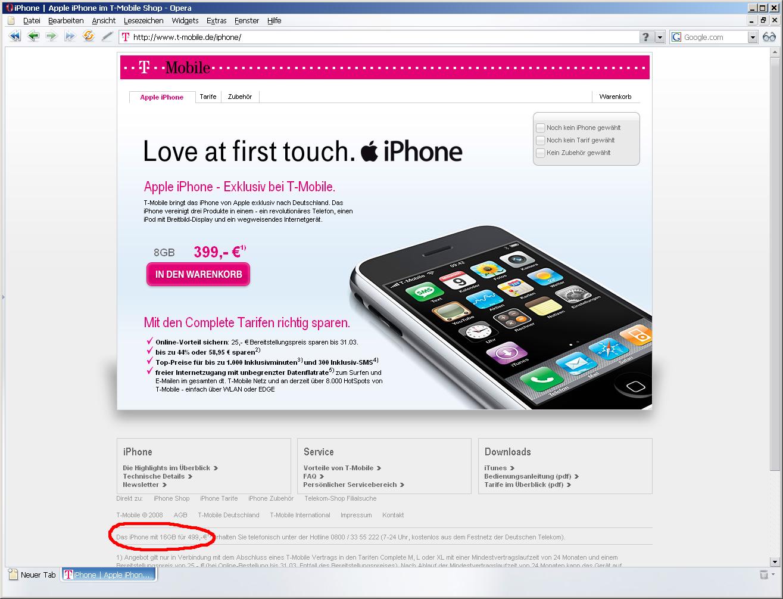 T-Mobile behandelt 16-GByte-iPhone stiefmütterlich - iPhone mit 16 GByte auf T-Mobile-Webseite. Rote Markierung stammt von Golem.de