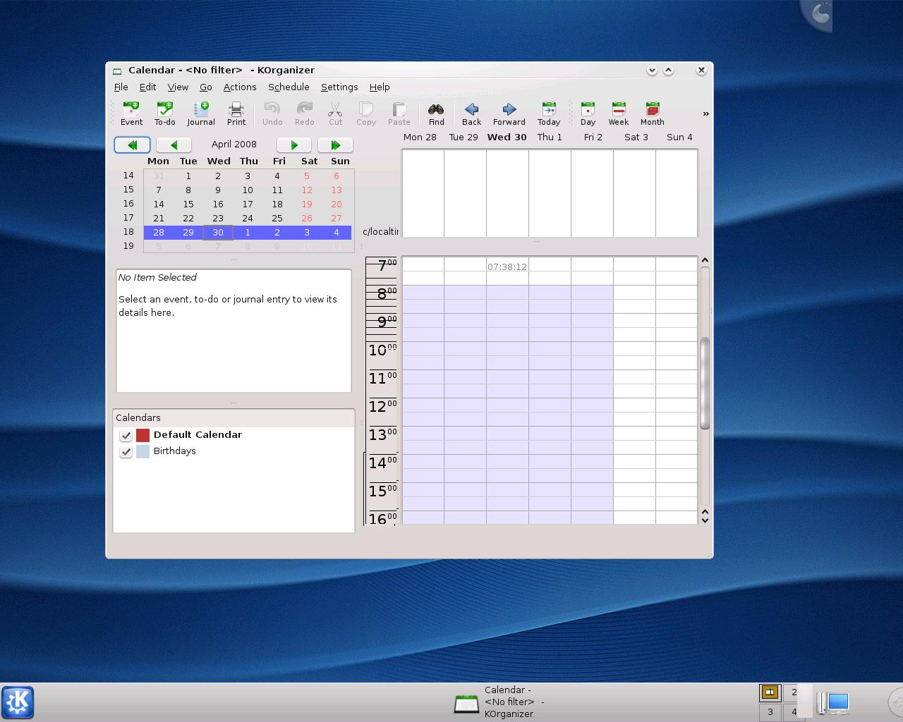 Erste Vorschau auf KDE 4.1 veröffentlicht - KOrganizer in KDE 4.1