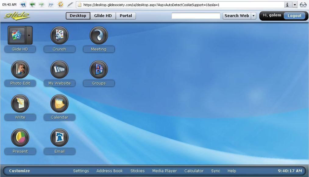 Glide OS - ein Desktop auf allen Geräten - GlideOS-Desktop (Opera)