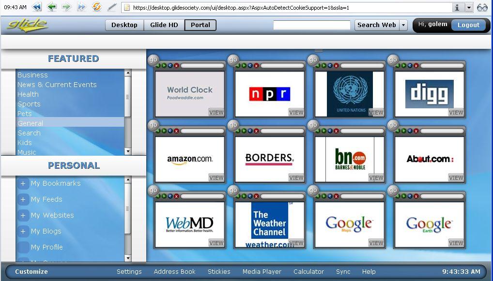 Glide OS - ein Desktop auf allen Geräten - Das Glide-Portal