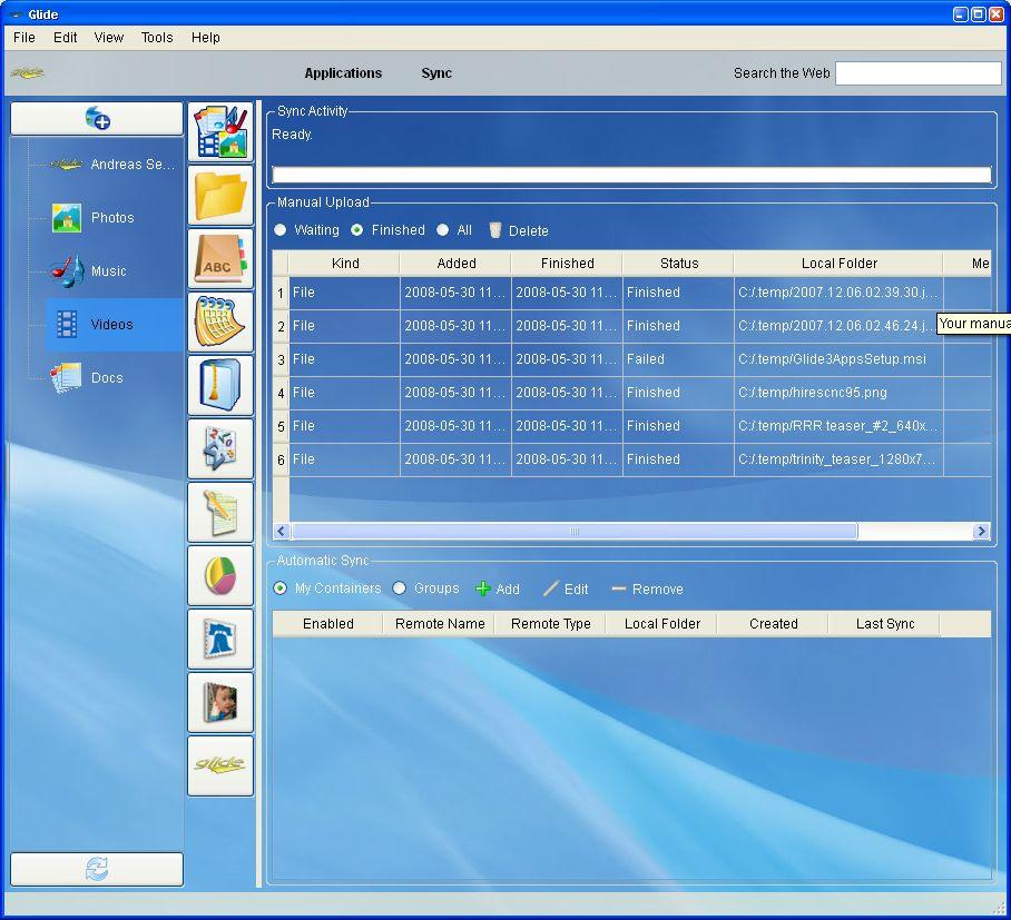 Glide OS - ein Desktop auf allen Geräten - Synchronisation in der Windows-Anwendung
