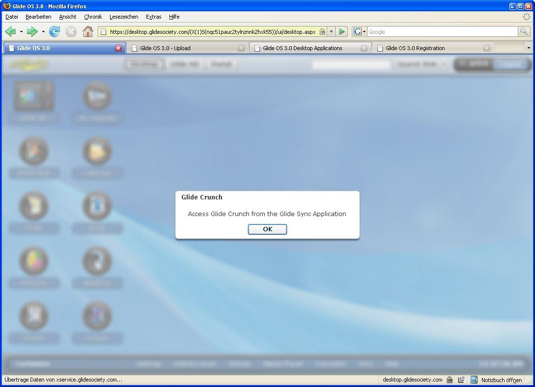 Glide OS - ein Desktop auf allen Geräten - Vom Onlinebetriebssystem kann Glide Crunch nicht aufgerufen werden